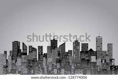 vector abstract city skylines in black and white - stock photo