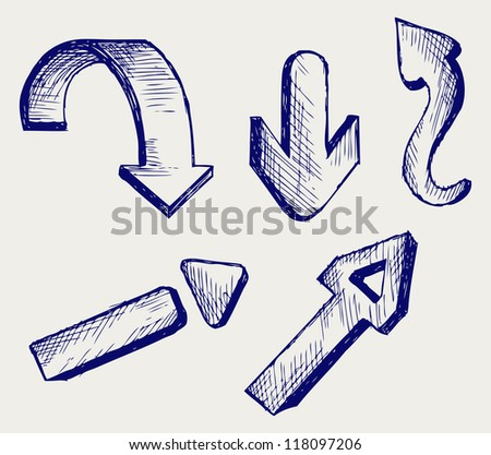 Vector arrows. Doodle style. Raster - stock photo