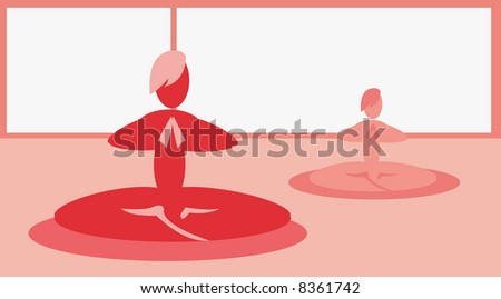 vector background for yoga cards and posters - stock photo