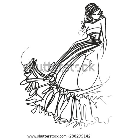 vector background with a beautiful bride in a wedding dress  - stock photo