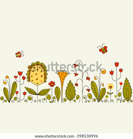 Vector background with flowers and butterflies. Raster copy of vector file. - stock photo