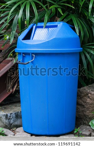 vector blue recycle garbage - stock photo