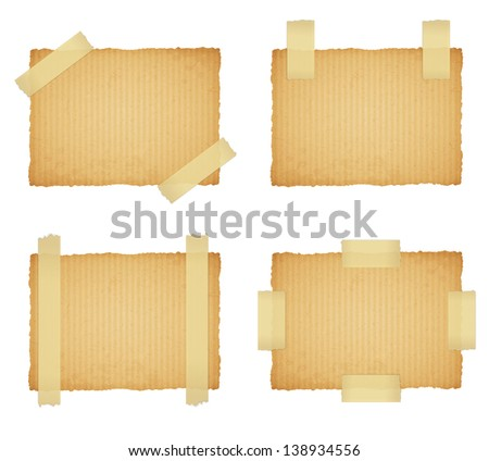 vector cardboard labels attached with a sticky tape on white background. Raster copy of vector illustration