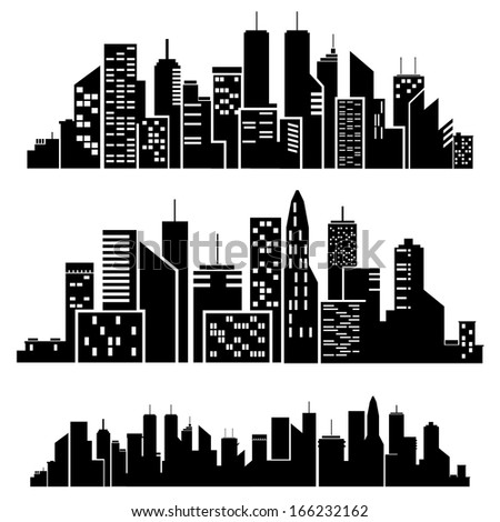 Vector cities silhouette on white background .
