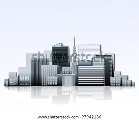 vector city background - stock photo