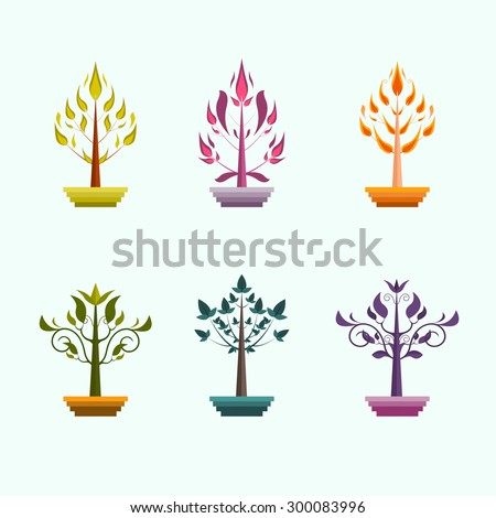 Vector collection icons of different tree emblems in fantasy style for logo