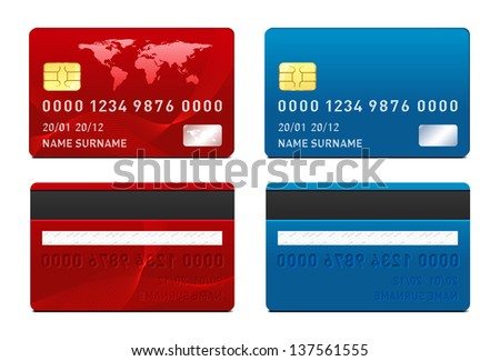 Vector Credit Card Template Stock Illustration 137561555 ...