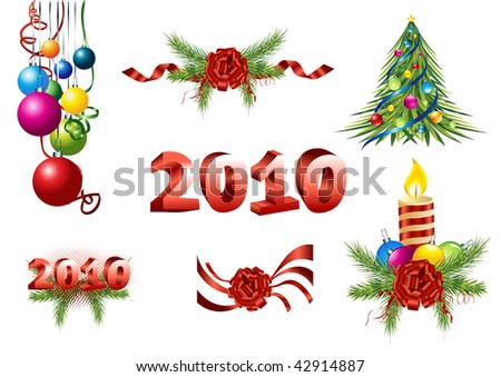 Vector decoration - Beautifully christmas pine, ribbon, christmas tree, colorful ball, candle, 2010 new year composition