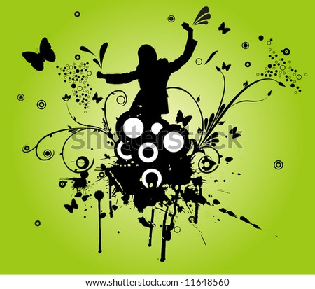 vector design of woman dancing and grunge flower ornaments