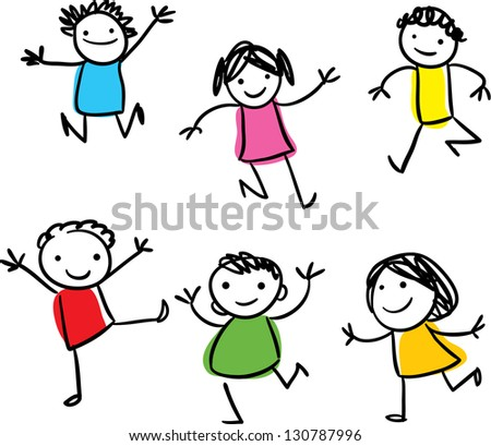 Vector drawing of smiling happy kids jumping around - stock photo