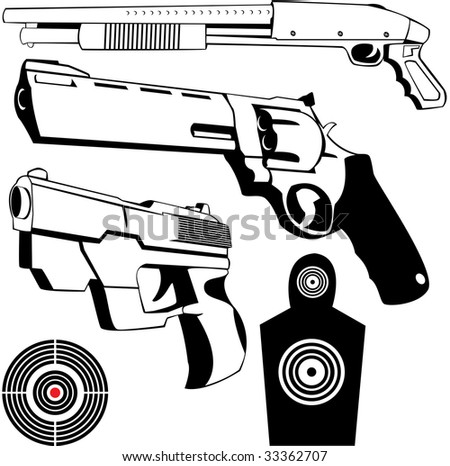 vector drawings of some fire weapons and targets - stock photo