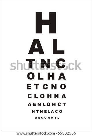 vector eye test chart with letters on white background