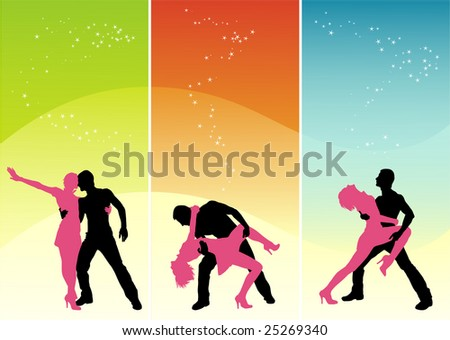 Vector figure of silhouettes dancing young people - stock photo