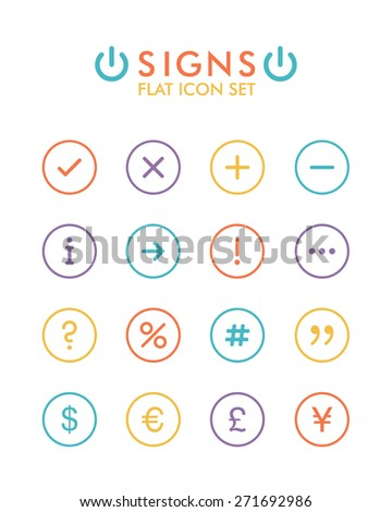 Vector Flat Icon Set - Signs  - stock photo