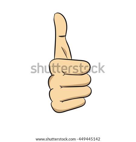 Vector hand showing thumb - stock photo
