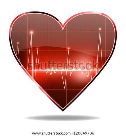 vector heart shaped cardiogram, isolated on white background, vector version available