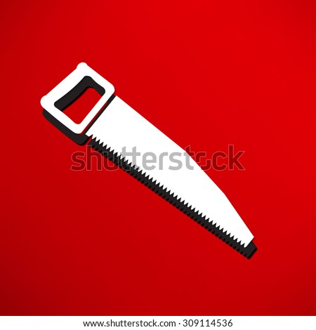 vector icon of hand saw - stock photo