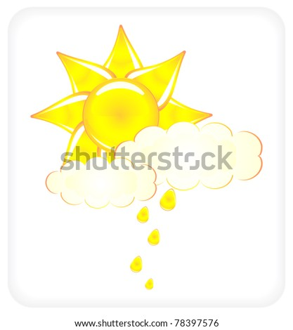Vector icon with the image of the sun closed by clouds - stock photo