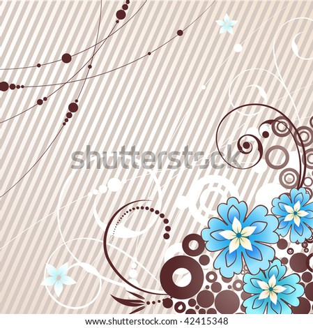 vector illustration: beige background and blue flowers. Raster version