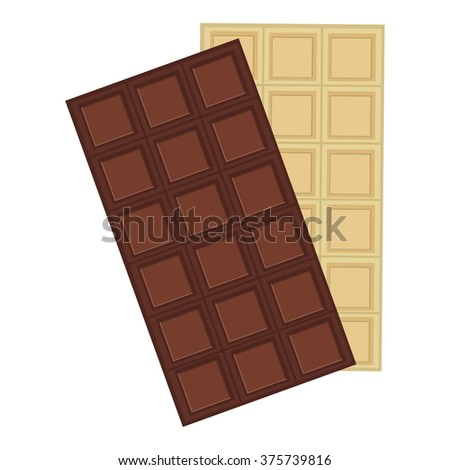 Vector illustration black and white chocolate bars. Dark chocolate. Chocolate bar icon - stock photo