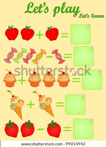 Vector illustration, elementary mathematics, educative game for children, card concept. - stock photo
