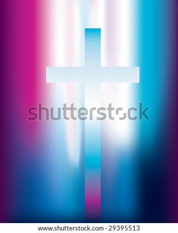 vector illustration of a christian cross with pink and violet light effect