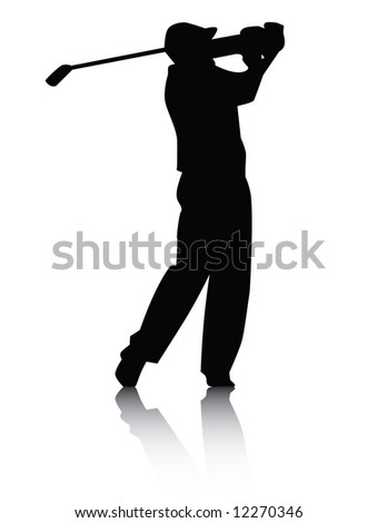 Vector illustration of a golfer swinging club silhouette with reflection in black on white background. - stock photo