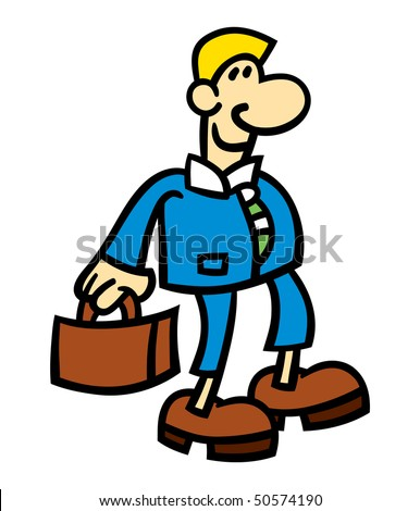 Vector illustration of a smiling cartoon man wearing a blue suit and holding a briefcase - stock photo