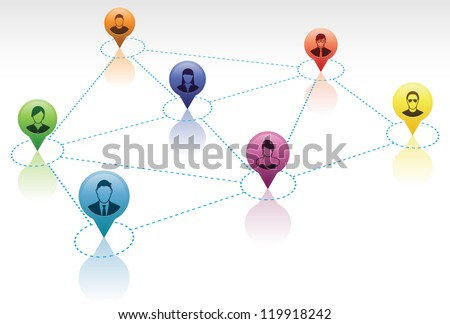 Vector Illustration of a social network group. - stock photo