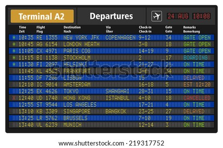 Vector illustration of airport departure board with timetable of airliner flights