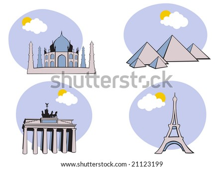 Vector illustration of All Over the World Travel. Includes the icons of Acropolis, The peramid of Kheops, Tag Mahal and Eiffel tower. - stock photo