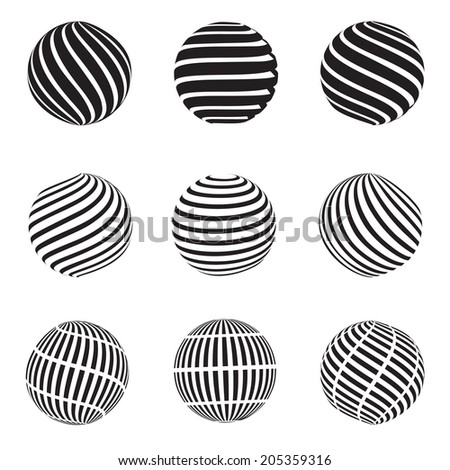 Vector illustration of an abstract dotted, swirls and grill spheres. Raster version - stock photo