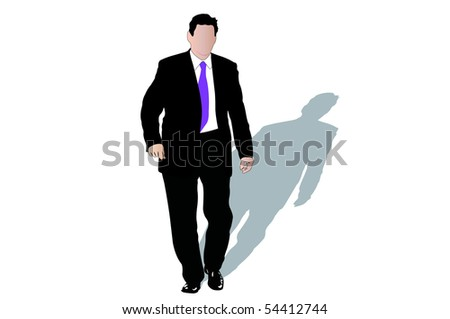 Vector illustration of businessmen and his shadow - stock photo