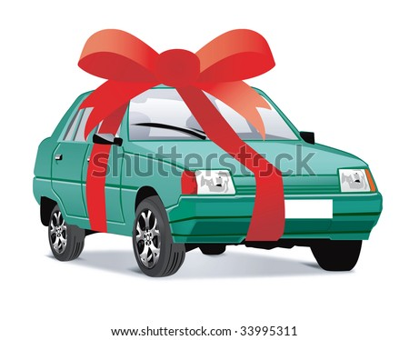 Vector illustration of car as a gift - stock photo
