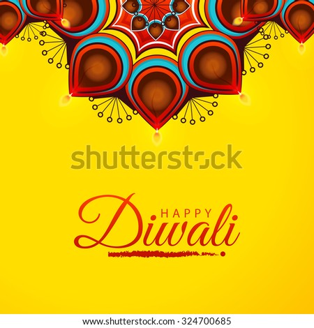 Vector Illustration Of Decorated Diwali Diya On Flower Rangoli