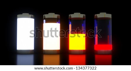 Vector illustration of glossy style different battery levels set on black background - stock photo