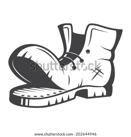 Vector illustration of old boot. Black and white - stock photo