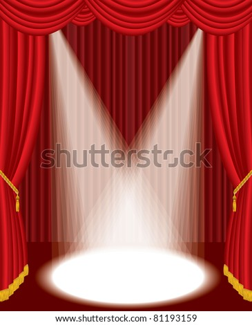 vector illustration of the empty red stage with two spotlights - stock photo