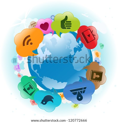 Vector Illustration of the world with cloud thought bubbles around it. EPS 10 with no transparencies - stock photo