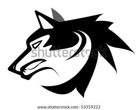 Vector illustration of wolf face black and white tattoo isolated on white - stock photo