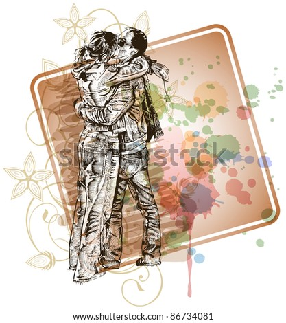 Vector illustration: Two lovers kissing & floral calligraphy ornament - a stylized orchid & color paint background. Bitmap copy my vector ID 71330395 - stock photo