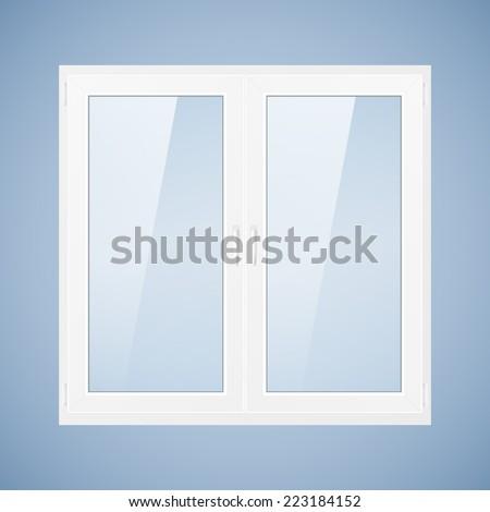 Vector illustration with white plastic window. PVC window. Rasterized version. - stock photo