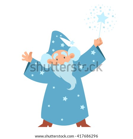 Vector image of a cartoon Wizard with his wand - stock photo