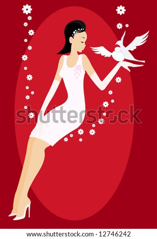 vector image of bride in white dress with two doves - stock photo