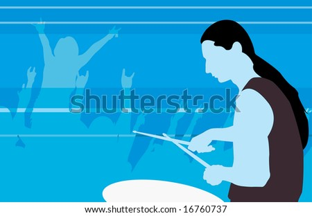 vector image of drummer profile - stock photo