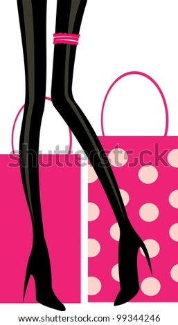 vector image of pink shopping bugs and legs