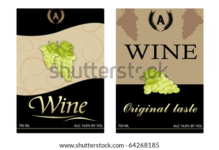 Vector image of two framed wine labels
