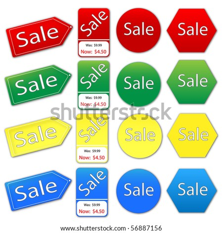 Vector image of various colorful sale tags. - stock photo