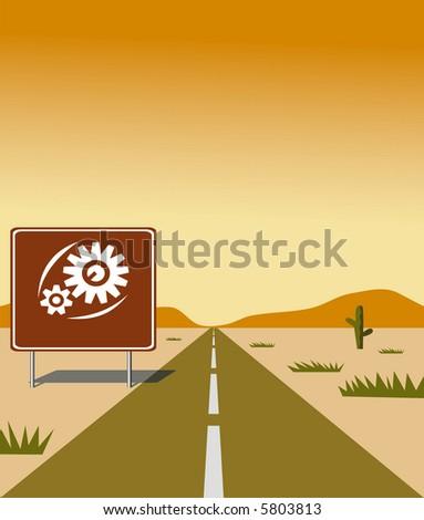 Vector image. Road in the desert. - stock photo