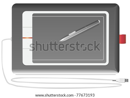 vector input device graphics tablet silver on a white background - stock photo